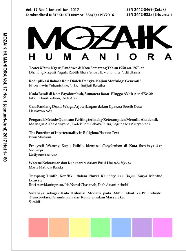 Mozaik Humaniora  Vol 17 N0. 1